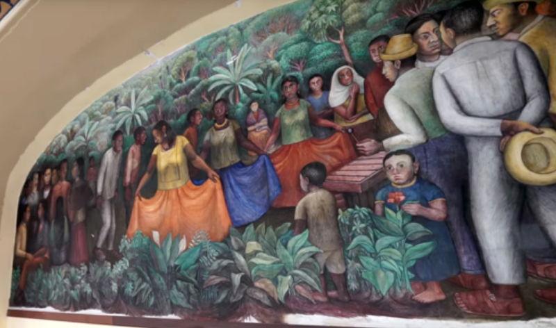 Arturo Estrada, Baile de Tehuantepec, ca. 1949, mural al fresco. Hotel Posada del Sol, colonia Doctores, Ciudad de México.