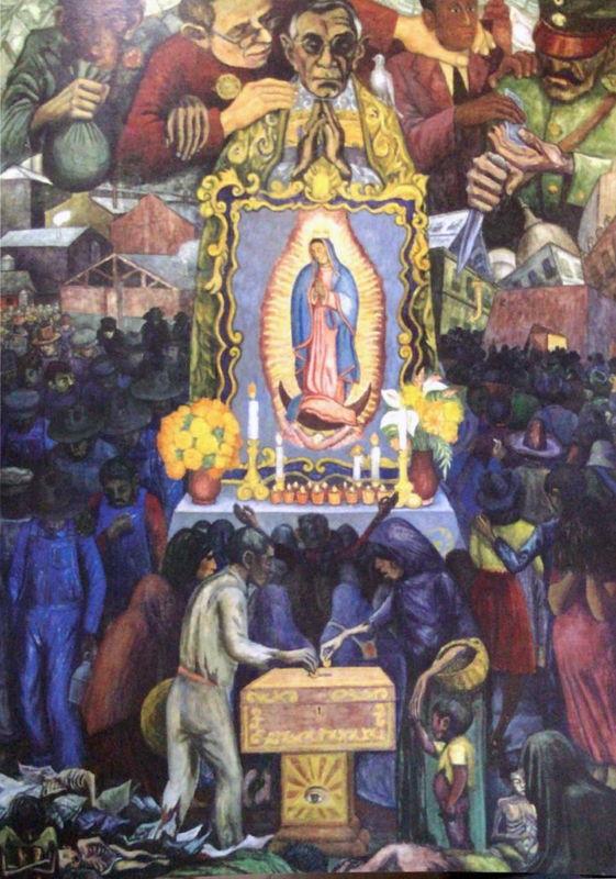 Arturo García Bustos, Guillermo Monroy y Arturo Estrada, Quiénes nos explotan y cómo nos explotan, 1945, óleo sobre tela. Colección Museo Casa Estudio Diego Rivera y Frida Kahlo.