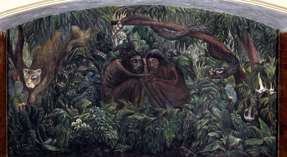 Arturo Garcías Bustos, Los amantes primitivos, 1949, mural al fresco. Hotel Posada del Sol, colonia Doctores, Ciudad de México.