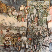 Oro negro o Retrato de una sociedad, 1980 (Vista general y detalle) Acrílico sobre lona Colegio Civil, Universidad Autónoma de Nuevo León, Monterrey Archivo Muralismo Cenidiap/INBA