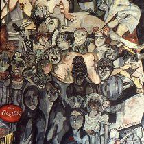 Oro negro o Retrato de una sociedad, 1980 (detalle) Acrílico sobre lona Colegio Civil, Universidad Autónoma de Nuevo León, Monterrey Archivo Muralismo Cenidiap/INBA