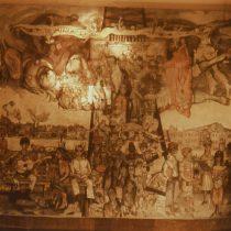 Oro negro o Retrato de una sociedad, 1980 (Vista general) Acrílico sobre lona Colegio Civil, Universidad Autónoma de Nuevo León, Monterrey Archivo Muralismo Cenidiap/INBA