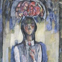 Mujer con lámpara, 2006 Óleo sobre tela 80 x 90 cm