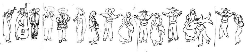 Figura 5. Ilustración, a lápiz, de los personajes que forman la danza del pescado blanco.